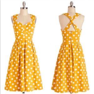 ModCloth Myrtlewood Yellow Polka Dot Dress